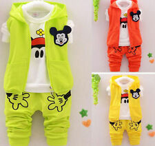3Pcs Baby Boys Girls Hoodie Coat+T-Shirt+Pants Mickey Mouse Kids Casual Outfits