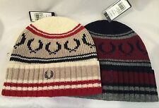 Authentic Fred Perry Men's Fairisle Knit Beanie Hat 100% Lambswool