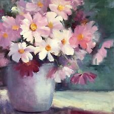 """Tina Wassel Keck Daily Oil Painting A Day Small Still Life Flowers Cosmos 8x8"""""""