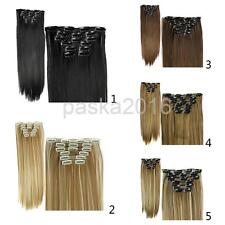 Long Straight 24inch 16 Clip 6pcs/set Synthetic Clip in Hair Extension Hairpiece