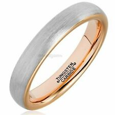 4mm Tungsten Carbide Wedding Band Rose Gold Tone Brushed Engagement Ring Women's