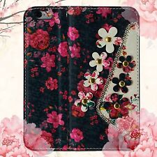 Magnetic Luxury Diamond Floral Flip Stand Wallet Case Cover For Samsung Galaxy