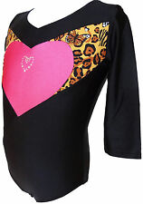 TALENT TALE GIRLS DANCE/ GYMNASTIC 3/4 Sleeve Print Block Heart Leotard