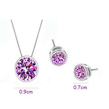 Romantic Wedding Zircon Round Pendant Ear Earrings Necklace Jewelry Set