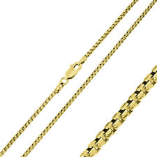 Men 1mm 925 Sterling Silver Italian Box Chain Necklace Gold Plated made in italy