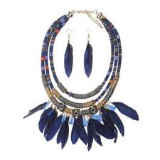 Bohemian Style Tribal Feather Tassel Bib Necklace Earring Jewelry Set