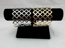 New Gold or Silver Diamond Cut Out Shapes Metal Ladies Fashion Cuff Bracelet