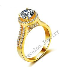 Handmade Women Crown 3ct Diamonique Cz Yellow Gold 925 Silver Wedding Band Ring