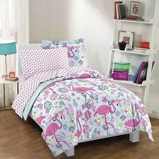NEW Twin Full Bed Blue Floral Paisley Pink Flamingo 7 pc Comforter Sheet Set NWT