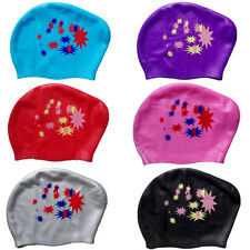 Fashion Long Hair Swim Cap Ear Cups Hat Ladies Chic Silicone Waterproof Women