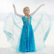 Girls Disney Elsa Frozen dress costume Princess Anna party dresses cosplay #