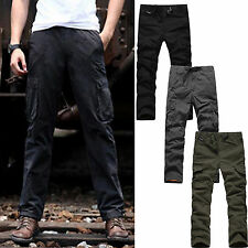 Men Buckle Fleece Long Pants Army Military Combat Cargo Work Trousers Sweatpants