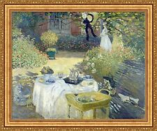 "Claude Monet Luncheon Framed Canvas Giclee Print 42""x35"" (V99-09)"