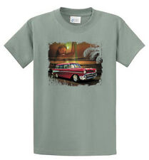 Antique Car on Beach Graphic Tees Mens Regular and Big and Tall Size Port & Co