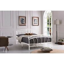 NEW White Twin Full Queen Size Bed Frame Metal Foundation Headboard Footboard