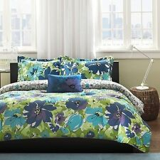 NEW Twin XL Full Queen Bed 4 pc Blue Green Floral Reversible Comforter Set NWT