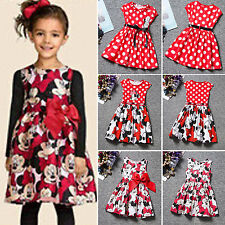 Kids Girls Minnie Mouse Cartoon Dress Princess Birthday Party Bow Belt Sundress