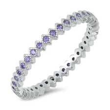 .925 Sterling Silver Stackable Eternity Simulated Amethyst CZ Promise Ring NEW