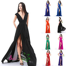Sexy V-neck Long Formal Prom Dresses Party Bridesmaid Evening Ball Gowns Au 4-18