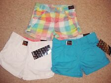 GIRLS COTTON TURN UP SHORTS IN WHITE,BLUE OR CHECK  WITH ADJ WAIST BNWT