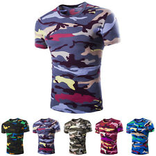 Popular Mens Crew Neck Camouflage Casual T-Shirt Short Sleeve Slim Fit Tops 2016