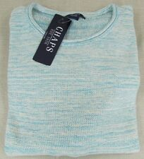 CHAPS By RALPH LAUREN Women's Marled Linen Blend Sweater Canton Blue M, XL NEW