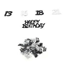 21st Birthday Party Supplies Confetti Black Silver Table Scatters Decorations SE
