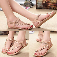 Summer Lady Sandals Bohemia Style Flower Flat Sandals Beach Shoes Thong Slippers