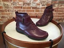 Clarks Burgundy Leather Lace Strap & Buckle Detail Kearns Admire Ankle Boots NEW