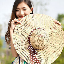 Straw Hat Cap Floppy Women Summer Sun Derby Hot Beach Hat Lady Wide Brim Fold
