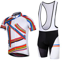 MTB Cloth Mens Bicycle Jersey Set / Suit Cycle Jacket Top & Cycling Bib Shorts