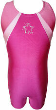 TALENT TALE GIRLS DANCE/ GYMNASTIC  Pink Tank Color Block Rhinestone Biketard