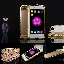 For Apple iPhone Luxury Crystal Rhinestone Diamond Bling Metal Case Cover Bumper
