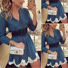 Women Sexy Long Sleeve Lace Party Floral Evening Cocktail Casual Mini Dress