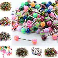 50/Lot Mix Color Stainless Acrylic Ball Barbell Bar Navel Lip Nose Eyebrow Ring