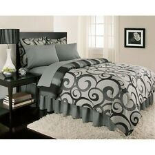 NEW Twin Full Queen King Bed Bag 8 pc Gray Scroll Stripe Comforter Sheets Set