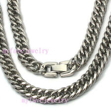 316L Stainless Steel Clasp 7.5mm Round Side Cuban Hand POLISHED Necklace Choker