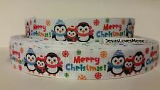 """Grosgrain Ribbon, Merry Christmas Holiday Penguin Family Snowflakes, 7/8"""" Wide"""