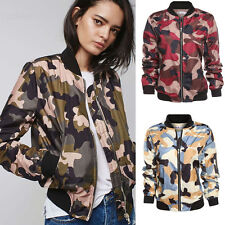 New Ladies Women Camouflage Army Print Classic Padded Bomber Jacket Coat