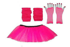 NEW NEON PINK TUTU SKIRT LEGWARMERS FISHNET GLOVES 3PC FANCY DRESS PCK