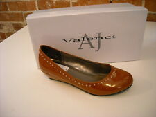 AJ Valenci Rust Brown Patent Studded Wedge Shoes