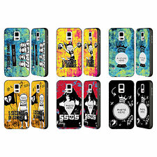 CUSTOM PERSONALISED 5SOS MIXED ICONS BLACK BUMPER SLIDER CASE FOR SAMSUNG PHONES