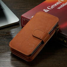 Genuine Leather Case Cover Zipper Wallet Card Multifunction For Samsung Galaxy
