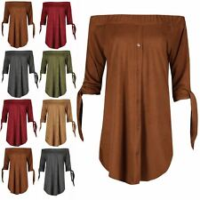 Womens Ladies Suede Off the Shoulder 3/4 Tie Sleeves Curved Hem Shirt Dress Top