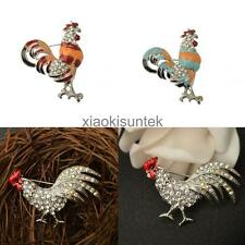 Chicken Rooster Hen Farm Animal Silver Tone Crystal Rhinestone Brooch Pin Gift