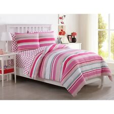 NEW Twin Full Bed Pink White Gray Grey Stripe Hearts 7 pc Comforter Sheets Set