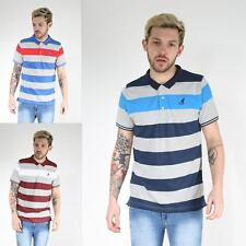 Kangol Mens Designer Short Sleeved Collared Neck Buttons Up Striped Polo T Shirt