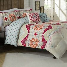 NEW Twin XL Full Queen King Bed Orange Blue Pink Damask Scroll 5pc Comforter Set