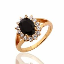 Nice gift ! 24k yellow gold filled black sapphire Cluster fashion ring Sz6-Sz9