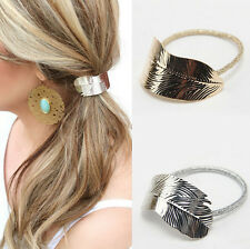 Lady 2Pcs Rope Hair Band Headband Elastic Holder Accessories Ponytail Leaf Women
